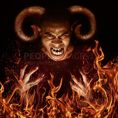 Buy stock photo Computer manipulated shot of a fiery demon