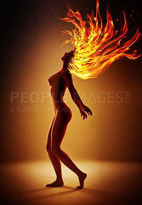 Buy stock photo Computer manipulated shot of a fire spirit