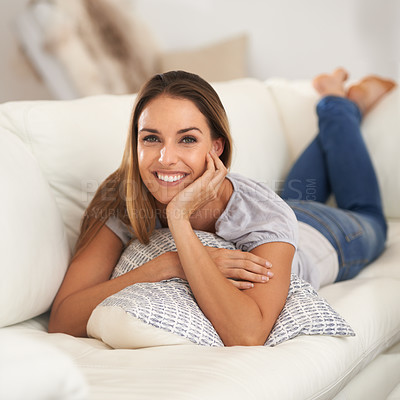 Buy stock photo Shot of a beautiful woman sitting indoors