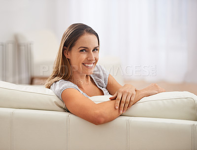 Buy stock photo Shot of a beautiful woman smiling at the camera