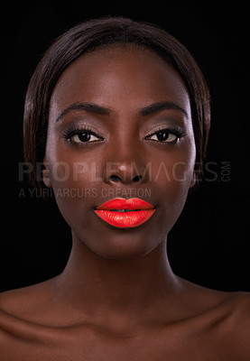 Buy stock photo Cropped portrait of an attractive young african woman with bright red lips