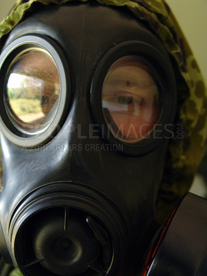 Buy stock photo A gass mask up close