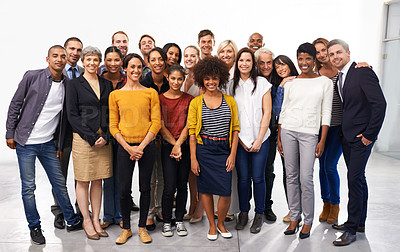 Buy stock photo Full length portrait of a diverse group of business professionals