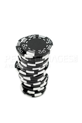 Buy stock photo One stack of black poker chips