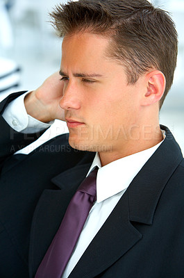 Buy stock photo Closeup shot of thoughtful-looking young businessman