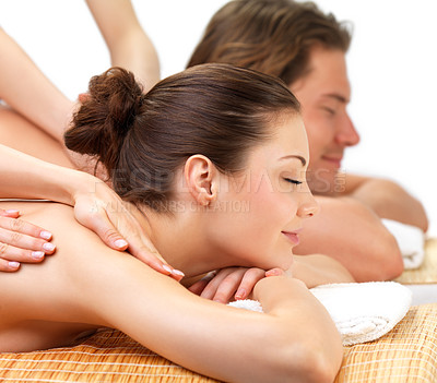 Buy stock photo Young beautiful happy woman getting a massage at the spa with her boyfriend - Health and beauty