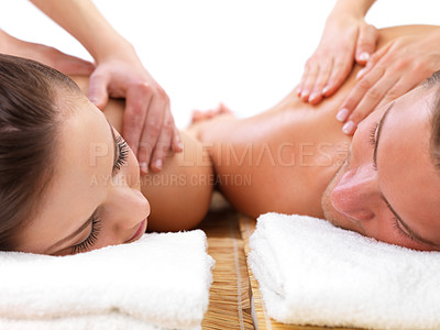 Buy stock photo Close up of man and woman getting massage together, on romantic holiday at the spa.