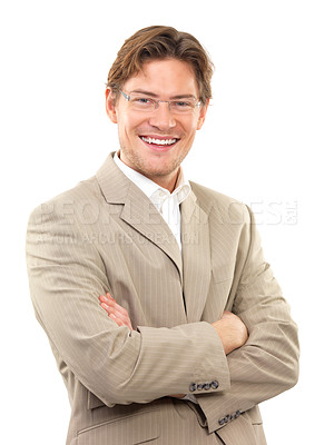 Buy stock photo Portrait of a cheerful young businessman with arms crossed