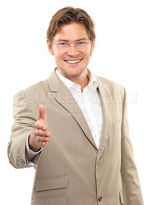 Buy stock photo Portrait of a businessman with an open hand ready to seal a deal