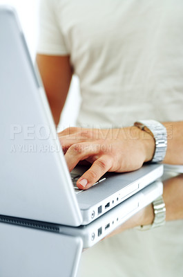 Buy stock photo Nice laptop on a glass table.