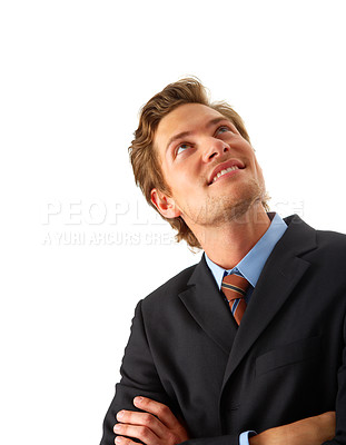 Buy stock photo Businessman looking up.  Room to add an object, or some text. Conceptual graphic image.
