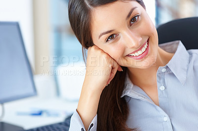 Buy stock photo Closeup of pretty businesswoman smiling in office