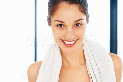 Buy stock photo Closeup of young woman smiling after her workout
