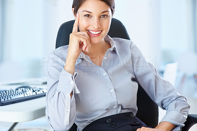 Buy stock photo Portrait of young female executive smiling
