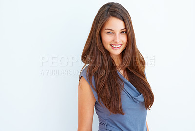 Buy stock photo Portrait of young girl giving you cute smile
