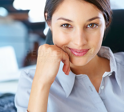 Buy stock photo Closeup of beautiful young business woman giving you smile