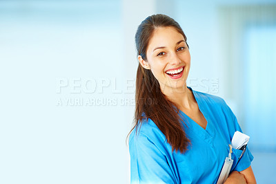 Buy stock photo Medical professional wearing scrubs and laughing - copyspace