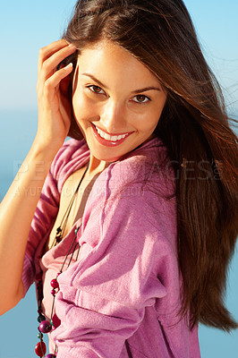 Buy stock photo Portrait of beautiful young woman with an attractive smile