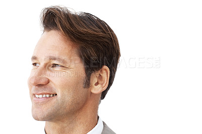 Buy stock photo Portrait of confident young businessman looking away against white background - Copyspace