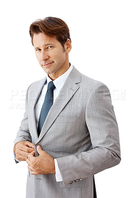 Buy stock photo Portrait of a young businessman standing isolated against white - Copyspace