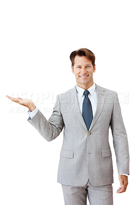 Buy stock photo Portrait of a happy young businessman presenting a product against white background - Copyspace