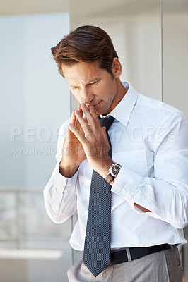Buy stock photo Portrait of a smart young businessman thinking something on new ideas