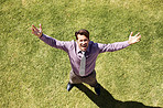 Businessman with his arms wide open - Freedom