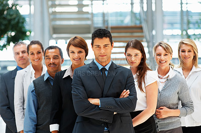 Buy stock photo View of group of executives with serious look