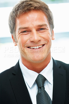 Buy stock photo Closeup view of handsome executive smiling