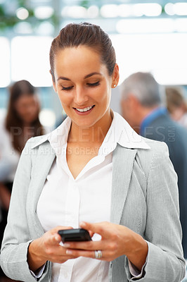 Buy stock photo Happy business woman texting on cell phone