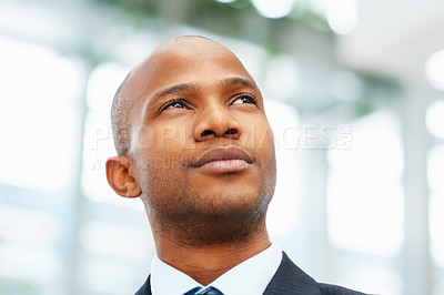 Buy stock photo Closeup of handsome businessman looking into distance