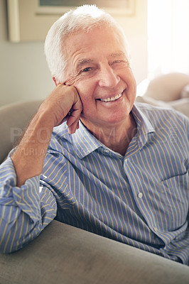 Buy stock photo Portrait of a senior man relaxing at home