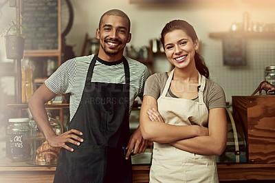 Buy stock photo Portrait of a confident young man and woman working together in a coffee shop