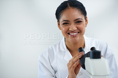 Buy stock photo Cropped portrait of an attractive young female scientist working in her lab