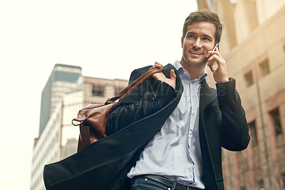 Buy stock photo Shot of a handsome businessman on his morning commute
