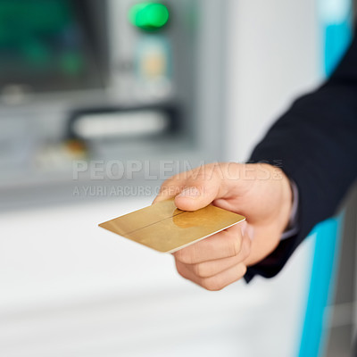 Buy stock photo Closeup shot of an unidentifiable businessman holding out a credit card