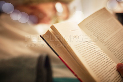 Buy stock photo Closeup shot of an unrecognizable person reading a book