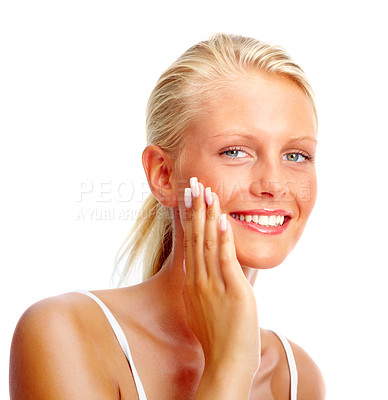 Buy stock photo Portrait of a cute young woman touching her face , smiling over white background
