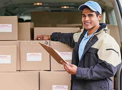 Buy stock photo Portrait of a delivery man standing next to a van full of boxes