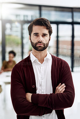 Buy stock photo Defocused shot of a young businessman posing with his colleagues sitting in the background