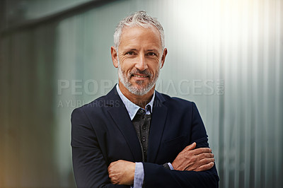 Buy stock photo Portrait of a confident businessman in the office