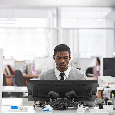 Buy stock photo Shot of a designer working on a touchscreen computer and a 3d printer