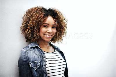 Buy stock photo Closeup shot of a young woman posing against a white background
