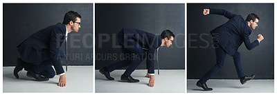 Buy stock photo Sequence shot of a businessman running from a crouched position against a gray background