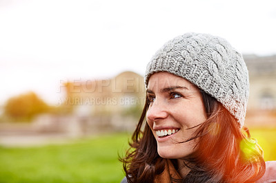 Buy stock photo Shot of an attractive young woman out for a walk in Paris