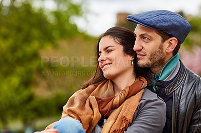 Buy stock photo Shot of a happy young couple enjoying a day together in Paris