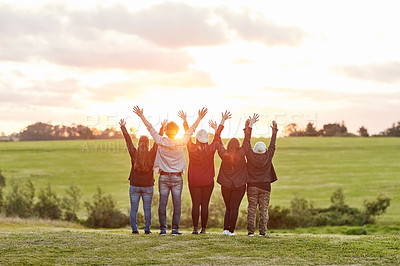 Buy stock photo Rearview shot of a group of friends admiring the view together on a weekend getaway