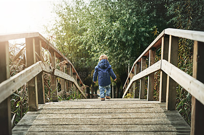 Buy stock photo Rear view shot of a little boy crossing a bridge at a park