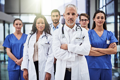 Buy stock photo Portrait of a diverse team of doctors working together in a medical institution
