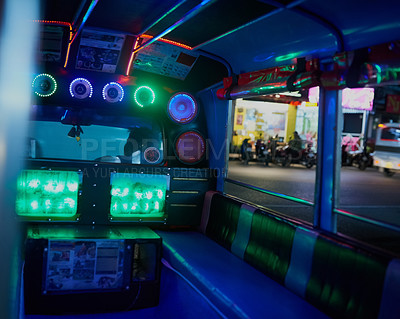 Buy stock photo Shot of the inside of an empty party bus at night